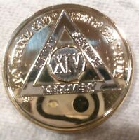 14 YEAR AA GOLD/SILVER Tone Bi-Plated Alcoholics Anonymous CHIP COIN MEDALLION