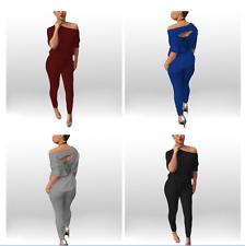 Women Active Back Cut Out TrackSuit Pant Long Sleeve Jumpsuit-USA SELLER#144