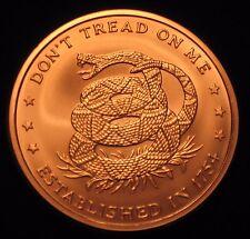 """5 oz Copper Round - .999 copper """"Don't Tread on Me / Price of Freedom"""" (Cu-103)"""
