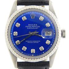 Rolex Datejust Mens Stainless Steel Black w/ Submariner Blue Diamond Dial Watch