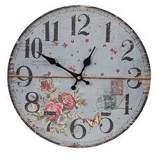 Clayre&eef Vintage Horloge Murale Nostalgie Montre Maison de Campagne MDF Bleu