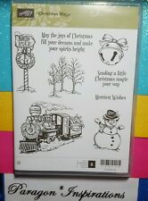 NEW Stampin Up CHRISTMAS MAGIC Clear Mount Stamps Train Snowman Trees Winter