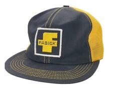 Vintage FABICK CAT Snapback Patch Hat Mesh Cap K Brand Yellow Black USA A2