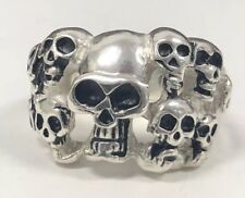 Mens Sterling Silver Skull Ring Solid 925 Ghost Multi Head NO RESERVE Sz 8/ NEW