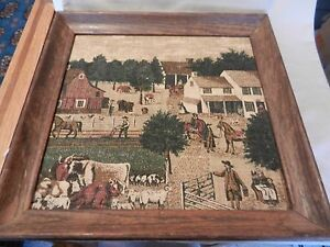 Vintage Amish or Colonial Farm Scene Textile Linen Print from Kay Dee Framed