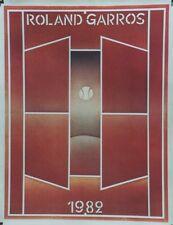 """""""ROLAND GARROS 1982"""" Affiche originale entoilée FOLON  62x79cm"""