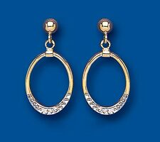 Diamond Cut Earrings Yellow and White Gold Drops Two Colour gold Drop Earrings