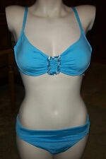 NEW Becca light blue jewel  bra style bathing suit bikini swimsuit sz LARGE L
