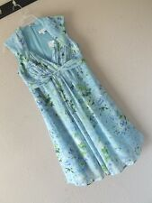 NWT BLUE FLORAL 10 OVERLAY DRESS Green Watercolor SCALLOPED NECKLINE Empire M