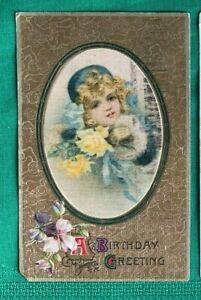 1908 - 1910  VTG Lot (3) Embossed Children Greetings Postcards ~ Pretty Girls