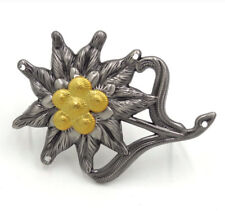 """WWII German Officer Edelweiss Mountain Cap Hat Badge Pin Gray 2"""" *1.5"""""""