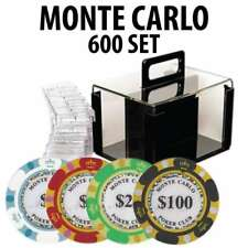 Monte Carlo Casino Poker Chip Set 600 Poker Chips Acrylic Carrier and Racks