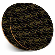 2 x Coasters - Art Deco Pattern Gold Abstract Home Gift #12687