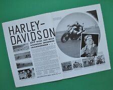 1940 Harley WLDR WLD Motorcycle Brochure Racing National Championship Poster