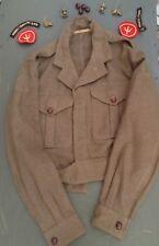 British Army Battle Dress Jacket, Dated 1952, Reenactment WW2 Uniform. & Badges