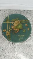 VINTAGE MRS. STEVEN'S HOME MADE CANDIES Tin Green, Yellow Flowers Chicago
