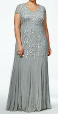 Adrianna Papell New Plus Size Beaded V-Neck Gown Size 16W #HN 390
