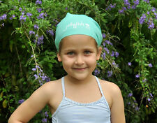 Junior Long Hair Swim Cap for kids with very long hair or braids, Turquoise