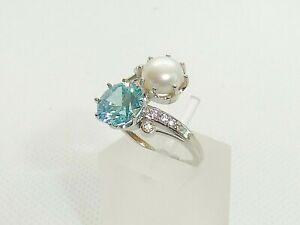 Ladies 925 Sterling Silver 2 Carat Aquamarine & Natural Pearl Crossover Ring