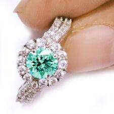 3.52ct vvs1>ICE BLUE WHITE MOISSANITE DIAMOND ENGAGEMENT .925 SILVER RING 7