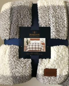 Pendleton Home Collection Queen Sherpa Fleece Blanket Rob Roy Gray