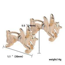 1 par de tono oro 3D Pegasus/Unicornio pendientes con puño de forma cónica