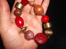 ELEGANT ELASTICATED BANGLE MULTI BEAD WOOD BRASS GLASS RED SHADES