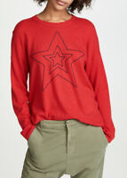 Sundry Womens Star Outlined Sweater Relaxed Holly Red Size US1
