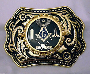 Masonic Symbols Belt Buckle  Western Style Black and Gold