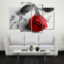 4Pcs/set Romantic Red Rose Oil Painting Canvas Living Room Mural Wall Decor Hot