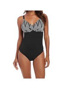 Fantasie Beqa Bandeau Control Swimsuit//Swimming Costume Black//Cream 6351