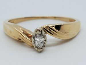 Engagement 14k Yellow Gold .10 Marquise H SI Diamond Solitaire Size 8.5 Ring WOW