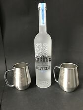 Belvedere Vodka Set 0,7l Flasche + 2 Belvedere Polished Mug 40%Vol. NEU OVP