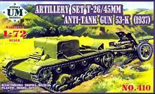 UM-MT Models 1/72 Soviet T-26 TANK WITH 53-K ANTI-TANK GUN Model 1937