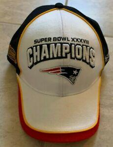 Reebok New England Patriots Super Bowl XXXVIII 38 Champs Hat Cap Mens One Size