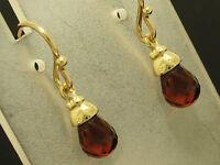 E110- Genuine 9ct Yellow Gold NATURAL Garnet Briolette Drop Earrings