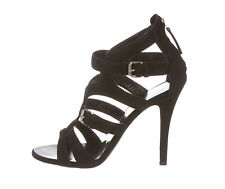 GUISEPPE ZANOTTI £680 Black Suede Cage Sandals Heels Shoes Pumps s.37.5