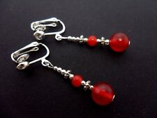 A PAIR TIBETAN SILVER RED JADE  BEAD  DANGLY CLIP ON EARRINGS. NEW.