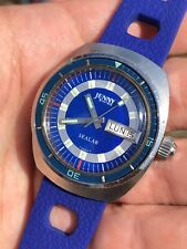 Vintage Jenny Blue Swiss Made Mens Diver Watch Automatic ETA 2788 Bakelite