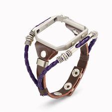 2018 Leather Metal Purple DIY Strap Bracelet Wrist Watch Band For Fitbit Blaze