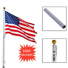 American Flag 20ft Aluminum Sectional Flagpole Kit Outdoor Halyard Pole + 1Pc Bp