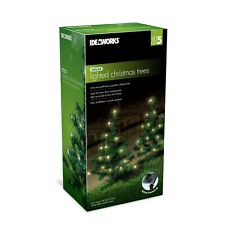 Solar lighted Christmas Tree Set of 5 Festive Pathway LED's Decorative NEW