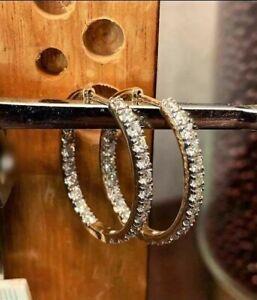 1.30Ct Round Gorgeous Cut Moissanite Huggie Hoop Earrings 14K White Gold Finish