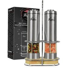 2Pc Salt and Pepper Grinders Set Manual Mini Stainless Steel Thumb Push Mills