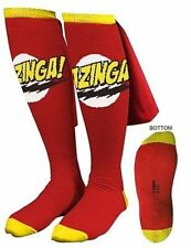 Authentic The Big Bang Theory Tv Show Bazinga Cape Knee High Red Costume Socks