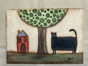 Original Primitive Folk Art Painting One Of A Kind Kitty Cat Salt Box House