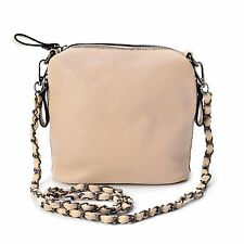 "BEIGE FAUX LEATHER CROSSBODY DESIGNER BAG HANDBAG PURSE TAUPE  8"" X 4"" X 8"""