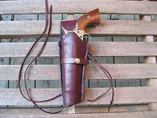 """Gun Holster - Left Handed - 6"""" Barrel -45 Caliber -Wine Color - Smooth - Leather"""