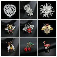 Women's Rhinestone Crystal Brooch BEE Insect Flower Brooches Vintage Pin Broach