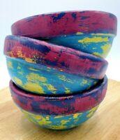 Bamboo Wood Bohemian Primitive Boho Upcycled Set of 3 Bowls Painted Pink Teal